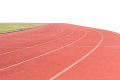 Red running tracks in sport stadium white background. Stock Photos