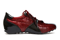 Red running womanish shoe Royalty Free Stock Images