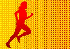 Red running women Royalty Free Stock Photos