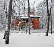 The red rural house among snow-covered trees and bushes. Stock Photo