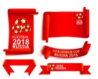 Red Russia 2018 world cup football labels set. Set of red Russia 2018 fifa world cup football ribbon label templates. Vector illustration Stock Image