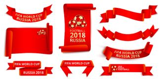 Red Russia 2018 world cup football labels set. Set of red Russia 2018 fifa world cup football ribbon label templates. Vector illustration Stock Photography