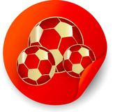 Red Russia 2018 world cup football sticker. Red Russia 2018 world cup football round sticker with ball. Vector paper illustration Stock Photo