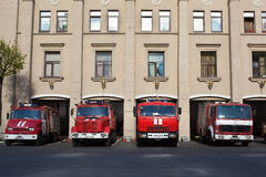 Red Russian firefighting vehicles garage Royalty Free Stock Photos