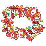 Red russian ornament with flowers, leaves and berries. royalty free illustration