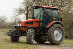 Red russian tractor. New red russian tractor 4wd Stock Photo