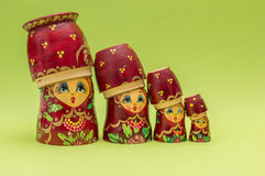 Red russian wooden nesting  dolls Royalty Free Stock Images