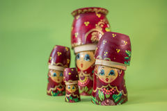 Red russian wooden nesting  dolls Stock Photography