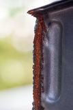 Red Rust on the edges of the cut steel Royalty Free Stock Photos