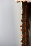 Red Rust on the edges of the cut steel. With heat and gas or LPG Stock Photo