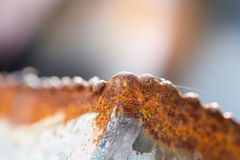 Red Rust on the edges of the cut steel. With heat and gas or LPG Stock Image