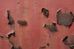Red rusted and scratched metal surface background texture. Image royalty free stock photography