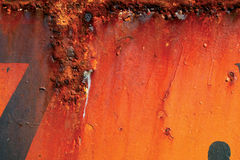 Red rusty metal. Rusting Red and orange painted metal surface royalty free stock photos