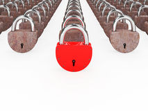 Red and rusty padlocks Royalty Free Stock Photography