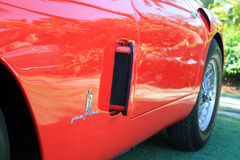 Red 1950s ferrari 250 mm front fender detail Stock Photos