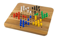 Red's Turn. Chinese Checkers board on white with game in progress stock photos