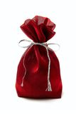 Red sack. Against white background royalty free stock photos