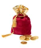Red sack and euro chocolate coins Stock Images