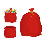 Red sack. Large holiday bag Santa Claus for gifts. Big bagful fo Stock Images