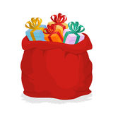 Red Sack Santa Claus with gifts. Holiday outdoor gift bag with b Stock Images