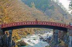 Red sacred bridge in Nikko world heritage area Stock Image