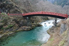 Red sacred bridge Shinkyo in Nikko, Japan Stock Image
