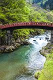 Red sacred bridge Shinkyo   Stock Image
