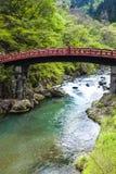 Red sacred bridge Shinkyo   Stock Image