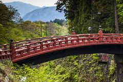 Red sacred bridge Shinkyo  Royalty Free Stock Image