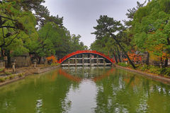 The Red sacred bridge Sumiyoshi Taisha Shrine Royalty Free Stock Photos