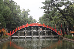 The Red sacred bridge Sumiyoshi Taisha Shrine Royalty Free Stock Image