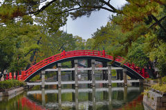 The Red sacred bridge Sumiyoshi Taisha Shrine Stock Photo