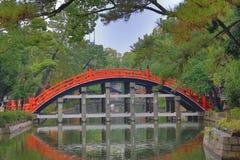 The Red sacred bridge Sumiyoshi Taisha Shrine Stock Photo