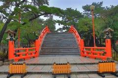Red sacred bridge at Sumiyoshi Taisha Shrine, Osaka, Japan Stock Photography