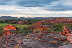 Red Sacred Rocks at Ubirr Rock, Kakadu, Australia. Ubirr Rock, Australia -May 29, 2016: The reflected sunset light on the rocks to the sacred site at Ubirr Rock Royalty Free Stock Image