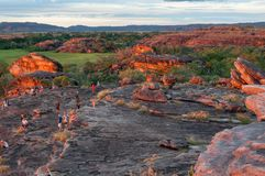 Red Sacred Rocks at Ubirr Rock in Kakadu National Park. Ubirr Rock, Australia -May 29, 2016: The reflected sunset light on the rocks to the sacred site at Ubirr Royalty Free Stock Photo