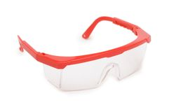 Red safety glasses isolated. On the white background Stock Photo