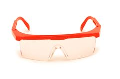 Red safety glasses isolated Stock Images