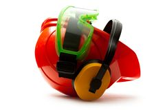 Red safety helmet Royalty Free Stock Image