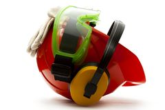Red safety helmet Stock Image