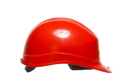 Red safety helmet of builder building worker isolated on white Stock Photography