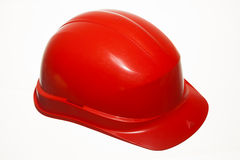 Red safety helmet of builder building worker isolated on white Royalty Free Stock Photos