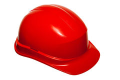 Red safety helmet of builder building worker isolated on white Stock Photo