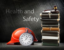 Red safety helmet on steel Royalty Free Stock Photos