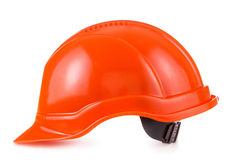 Red safety helmet on white background, hard hat Stock Photography