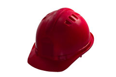 Red safety helmet on white background. Hard hat isolated on whit. For safety, always use helmet Royalty Free Stock Image