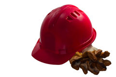 Red safety helmet on white background. Hard hat isolated on whit. For safety, always use helmet Stock Photos