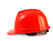 Red safety helmet on white, hard hat isolated clipping path. Royalty Free Stock Photos