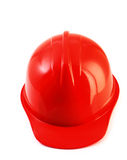 Red safety helmet on white, hard hat isolated clipping path. Royalty Free Stock Image