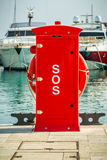 Red safety hydrant station, Cyprus, Limassol marina Royalty Free Stock Image